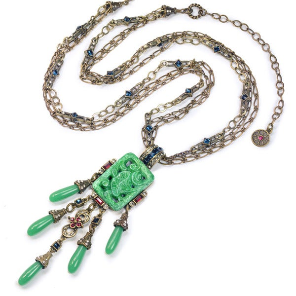 Sweet Romance Art Deco Asian Vintage Green Jade Glass Fringe Necklace