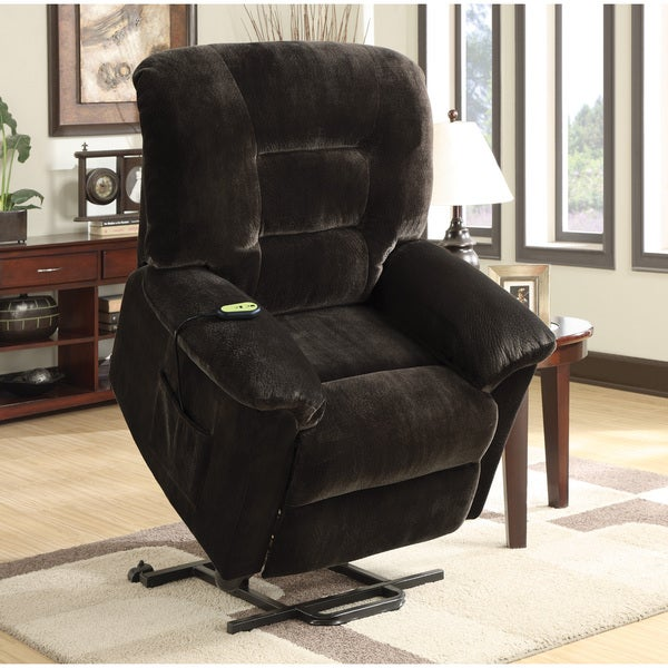 Dark Brown Power Lift Velvet Recliner