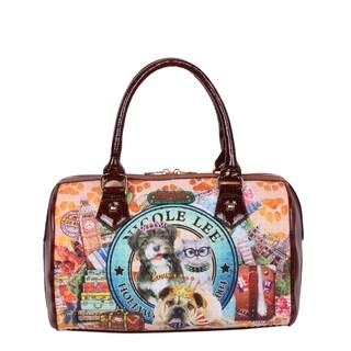 Nicole Lee World Tour Print Faux Leather/Nylon Boston Bag