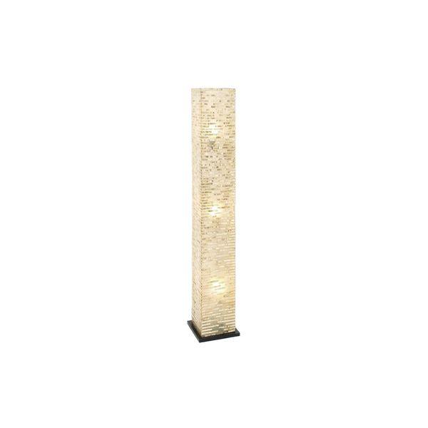 Tan/Black/Off-white Fiberglass Floor Lamp