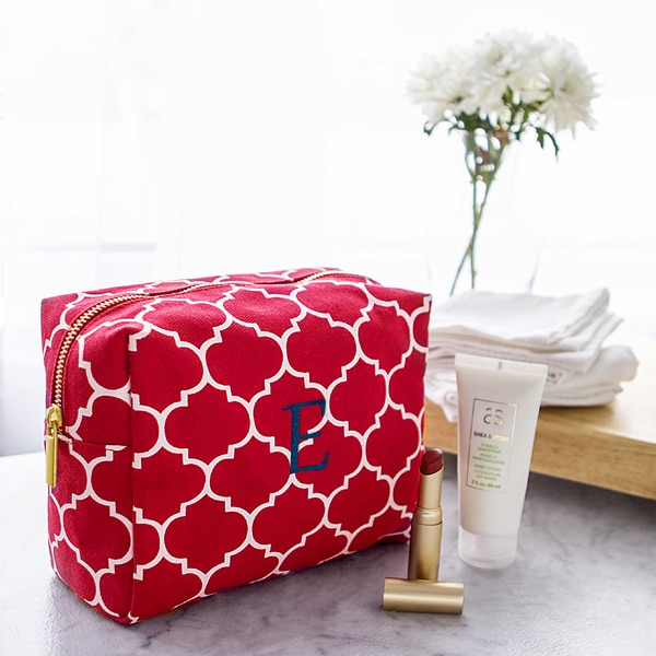 Personalized Coral Moroccan Lattice Cosmetic Bag