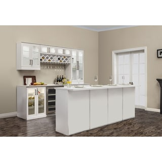 NewAge Products Home Bar 13 PC Island White Shaker Style