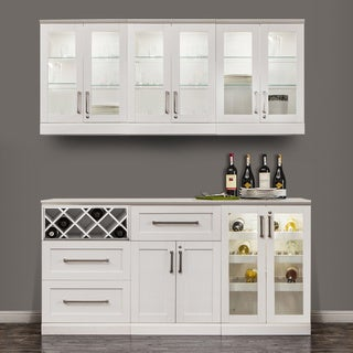 NewAge Products Home Bar White Shaker Style 7-piece Cabinet System