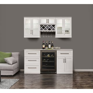 NewAge Products White 72-inch Wide x 25-inch Deep 7-piece Shaker-style Home Bar