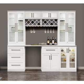 NewAge Products White 96-inch Wide x 25-inch Deep 8-piece Shaker-style Home Bar