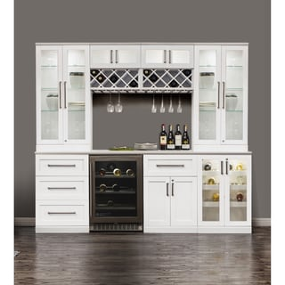 NewAge Products Home Bar 96-inch x 25-inch 9-piece White Shaker Style