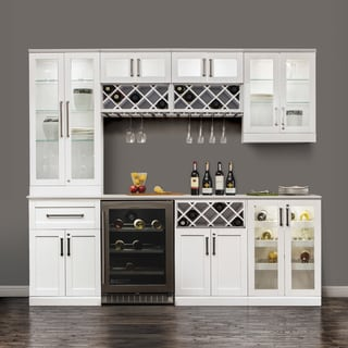 NewAge Products White Wood 96-inches Wide x 25-inches Deep 9-piece White Shaker-style Home Bar