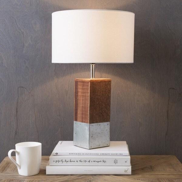 Anger Natural Finish Wood Base Table Lamp