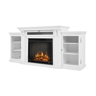 Real Flame Calie White Metal Fireplace Entertainment Center