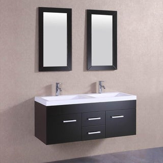 Belvedere Modern Espresso Double Sink Vanity with Faucets