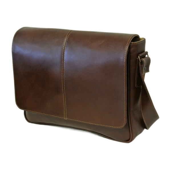 Piel Leather Deluxe Small Briefcase Messenger Bag