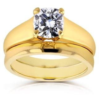 Annello 14k Yellow Gold 1 1/10ct Cushion Moissanite Classic Solitaire Bridal Set
