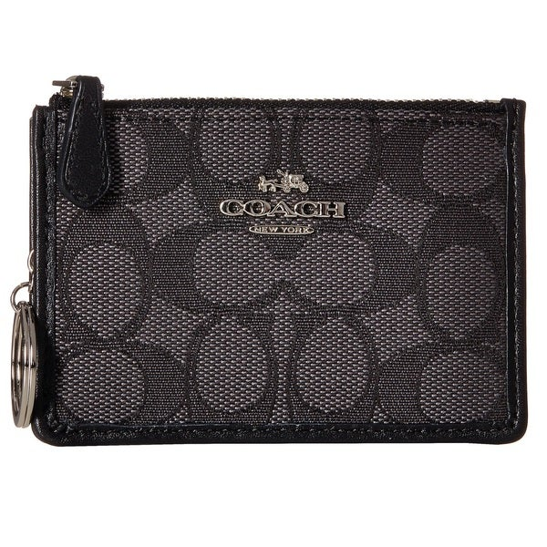 Coach Signature Mini ID Skinny Black Wallet