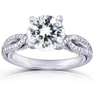 Annello 14k White Gold 1ct Round Moissanite Classic and 1/3ct TDW Diamond Ring (H-I, I1-I2)
