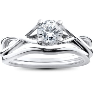 14k White Gold 1/2ct Intertwined Solitaire Diamond Engagement Ring Matching Wedding Band Set (I-J,I2-I3)