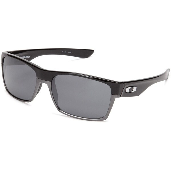 Oakley Men's Twoface Black Polished Rectangular Sunglasses with Black Iridium Lens