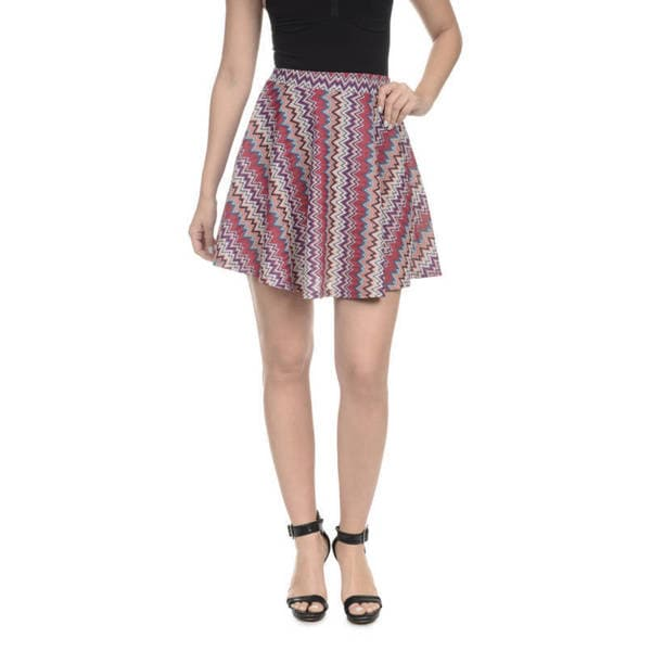 Romeo + Juliet Couture Women's Multicolor Chevron-print Skater Skirt