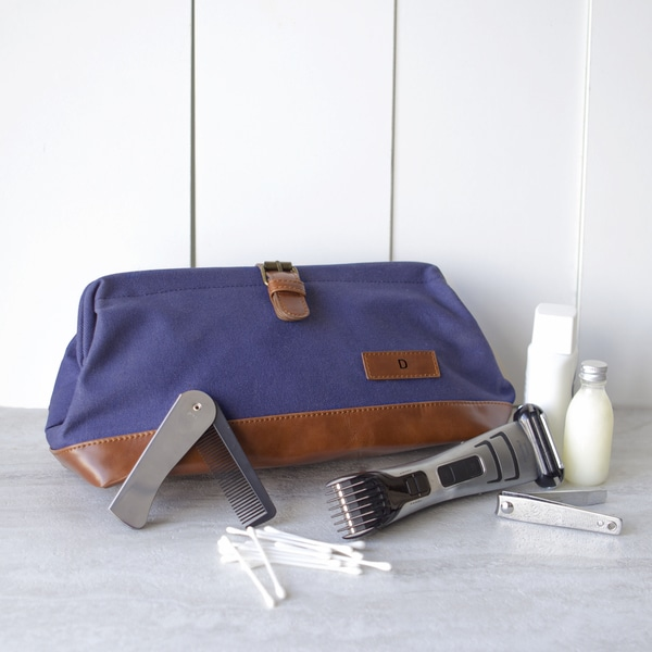 Personalized Men's Navy Travel Dopp Kit