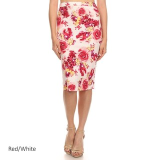 Floral Multicolored Polyester-blended Pencil Skirt