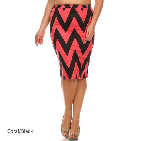 Chevron Striped Pencil Skirt