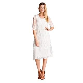 Orange Creek Women's Lace Trim Overlay Midi Dress With Scalloped Hem