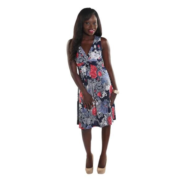 Hadari Women Sleeveless Deep V-Neck Flower Print Dress