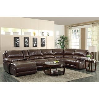 Brown Leather Reclining Chaise Sectional with Cup Holders