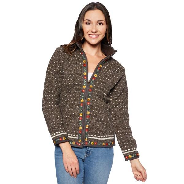 Laundromat Lausanne Women's Brown Wool Zip-front Sweater