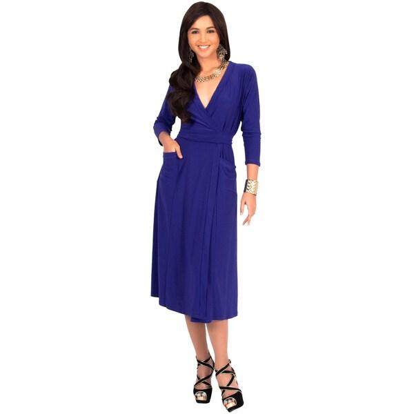KOH KOH Women's 3/4 Sleeve V-Neck Wrap Midi Dress Stunning Cocktail Tie Around Waist Knee Length Elegant Evening Dress