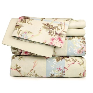 Beige Floral Sheet Set