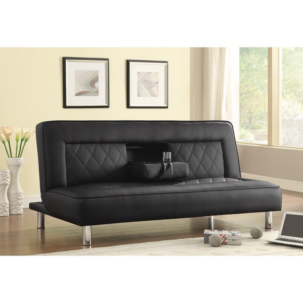 Black Leatherette Sofa Bed with Cup Holders