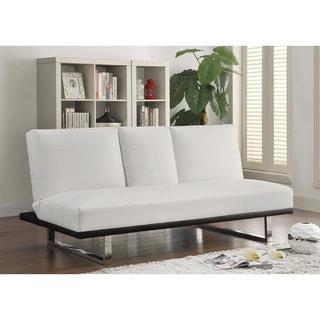 Contemporary White Leatherette Convertible Sleeper Sofa