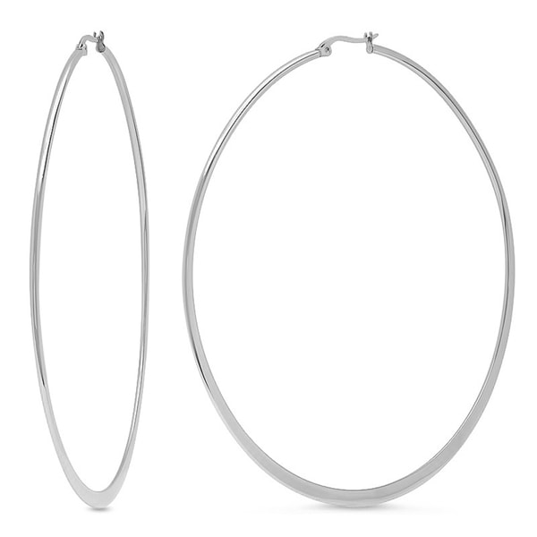 Silvertoned Flat 90mm Hoops