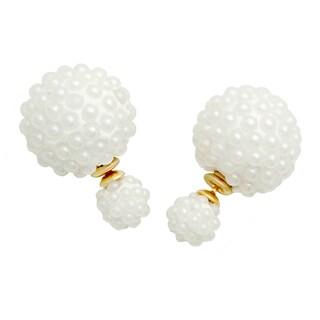 Silvertone Cluster Pearl Double-sided Earrings