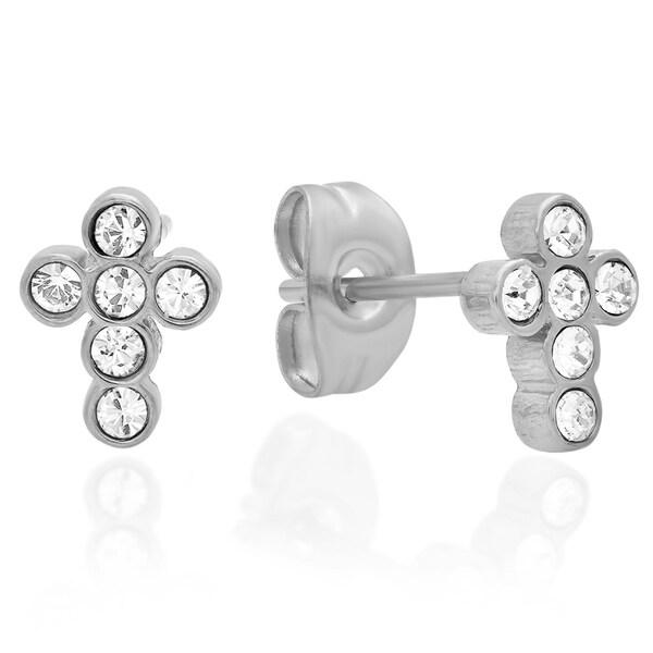 Swarovski Elements Studded Cross Earrings