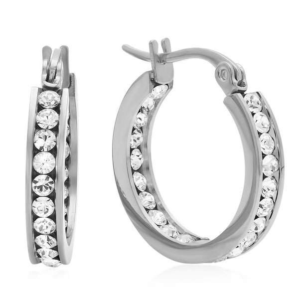 Swarovski Elements In and Out Mini Hoops