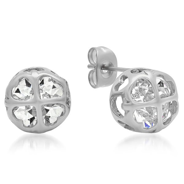 Swarovski Elements Clover Hearts Studs