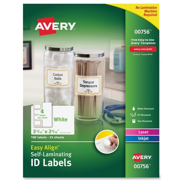 Avery Easy Align Self-Laminating ID Labels - White (100/Pack)