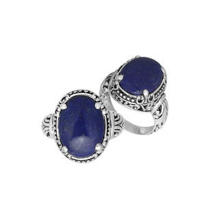 Handcrafted Sterling Silver Oval Lapis Gemstone Bali Ring (Indonesia)