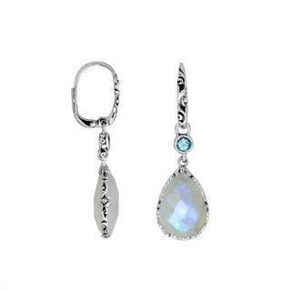 Handmade Sterling Silver Moonstone Pear Shaped Dangle Earrings (Indonesia)