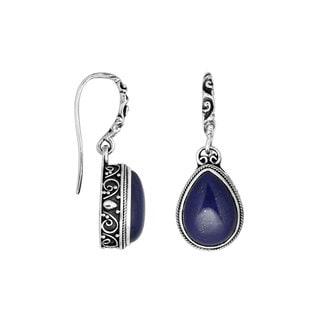 Handmade Sterling Silver Pear Drop Lapis Dangle Earrings (Indonesia)