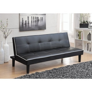 Black Leatherette White Piping Sofa Bed