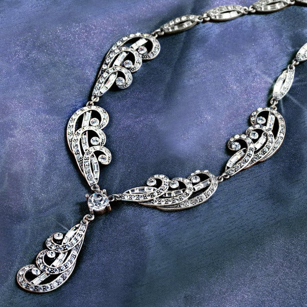 Sweet Romance Art Deco Silver Plume Vintage Wedding Necklace
