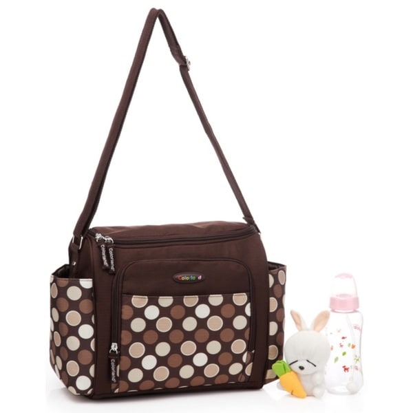 Colorland Messenger Bag in Brown Polka Dot