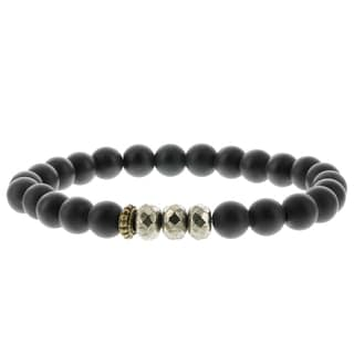 Fox and Baubles Matte Black Agate, Pyrite, and Brass Spacer Men's Stretch Bracelet