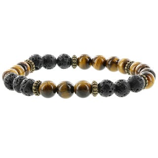 Fox and Baubles Lavastone, Tiger Eye, and Brass Spacers Men's Stretch Bracelet