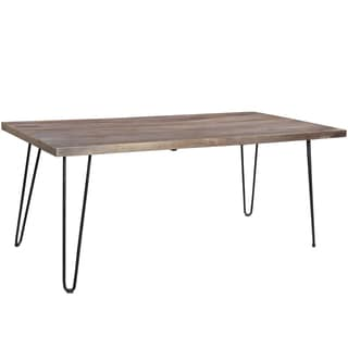 Porter Portland Gray Wash Mango Wood Dining Table with Hairpin Legs