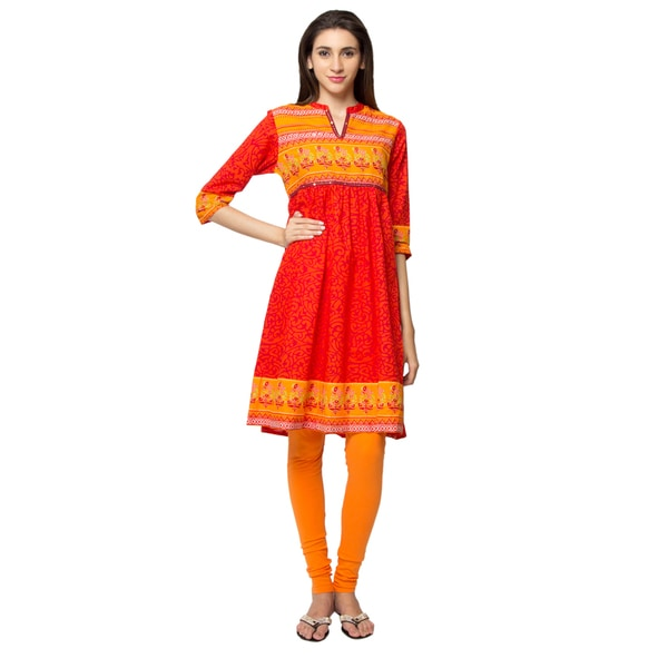 In-Sattva Ethnicity Women's Indian Artisan Print Vibrant Kurta Tunic