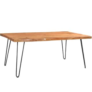 Porter Mojave Sustainable Live Edge Acacia Dining Table with Black Hairpin Legs