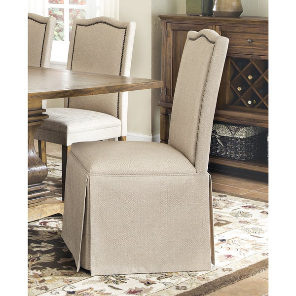 Brown Parson Chair With Skirt